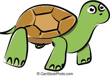 vector, tortuga, verde, o, emoji, color, ilustración