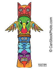 Vector Totem Pole - a Bright and colourful Totem Pole.
