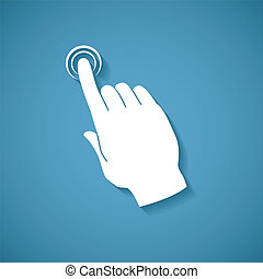 Vector touch screen concept with human palm and index finger...