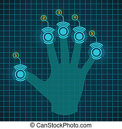 Vector touch screen device - Vector hand working with touch...