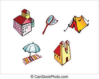 Vector tourism theme icons set