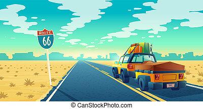 Vector tourist concept - desert with jeep, trailer - Vector...