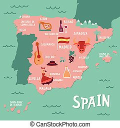 Vector tourist map of Spain.