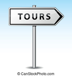 Vector tours directional sign - Vector illustration of tours...