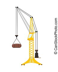 Vector tower crane. Flat illustration isolated