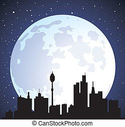 vector town background and moon