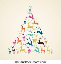 vector., træ, reindeer, fyrre, facon, glædelig jul