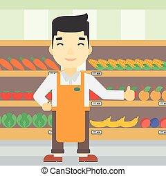 vector, trabajador, amistoso, supermercado, illustration.