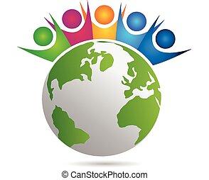 vector, trabajo en equipo, feliz, gente, logotipo