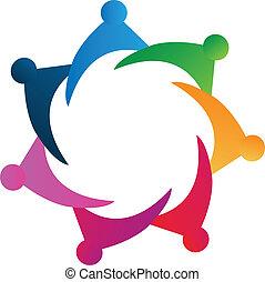 vector, trabajo en equipo, gente, logotipo