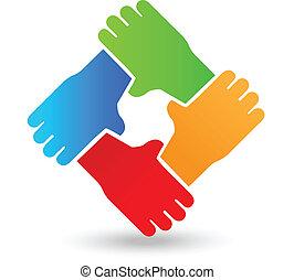 vector, trabajo en equipo, manos, gente, logotipo
