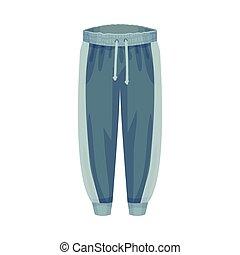 vector, tracksuit, ilustración, artículo, o, pista, ropa, elástico, macho, pantalones, fondos