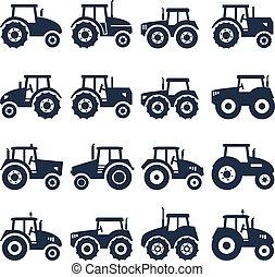 vector, tractor, iconos