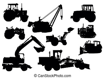 Set of vector silhouettes of tractor and excavator