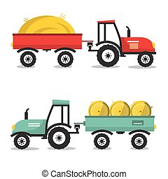 Vector Tractor with Dray. Flat Design Flat Design Tractors Isolated on White Background.