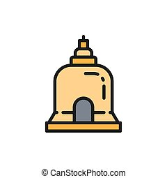 Vector Traditional Monastery in Pattaya, Thailand flat color line icon. Symbol and sign illustration design. Isolated on white background