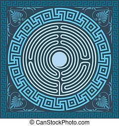 set Traditional vintage blue square and round Greek ornament (Meander), labyrinth and floral pattern