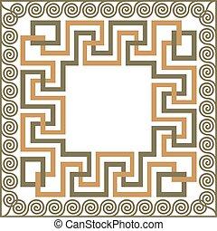 Vector traditional vintage square Greek ornament Meander