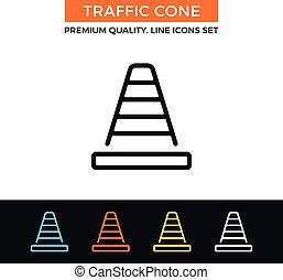 Vector traffic cone icon. Thin line icon