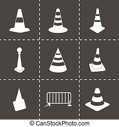 Vector traffic cone icons set