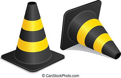 vector traffic cones with shadow