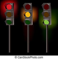 vector traffic lights on black background