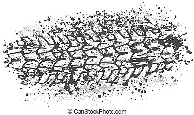 Vector trail design trace of the tyre in grunge style