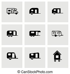 Vector trailer icon set on grey background