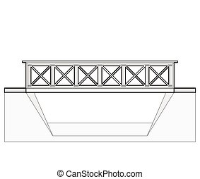 Vector train bridge, 2d side view, isolated on white...