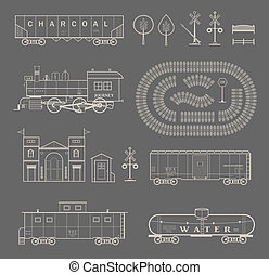 Vector train set - Vector set of various elements of ...
