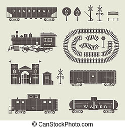 Vector set of various elements of railroad (trains)