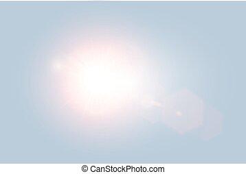 Vector transparent bright day sunlight lens flare with hexagon elements on light blue background. Sunrice or sunset, star burst