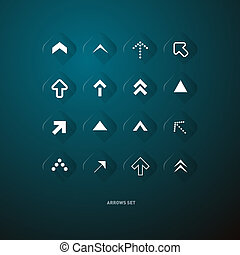 Vector Transparent Buttons With Arrows on Dark Blue Background