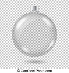 Vector transparent christmas tree ball with shadow isolated on c