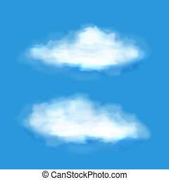 Vector transparent clouds on a blue sky in two different soft wispy white shapes for meteorology forecasts weather and climate concepts