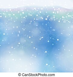 Vector transparent falling snowflakes isolated on blue background. Christmas background with snowfl