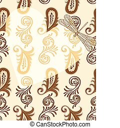 vector transparent heart with dragonfly on seamless paisley pattern.4 clipping masks. eps 10/