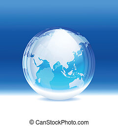 A vector illustration of a transparent snow globe (crystal sphere)with map. Includes transparent objects and opacity masks. Layered. EPS 10.