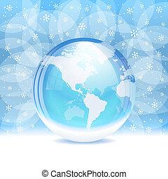 Vector transparent snow globe - A vector illustration of a...