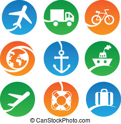 Vector transport icons - set of sig