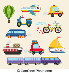 Vector transport set - isolated hand drawn transport set...