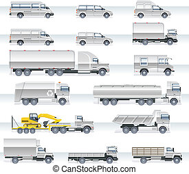 Vector transportation icon set - Set of detailed trucks and ...