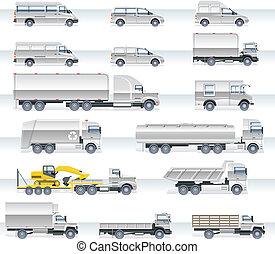 Set of detailed trucks and vans