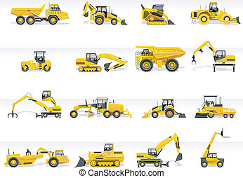 Set of detailed tractors and excavators