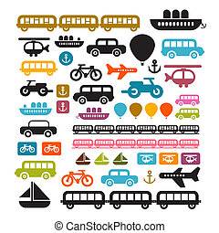 Vector Transportation Icons Isolated on White Background