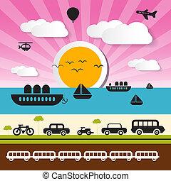 Vector Transportation Icons on Landscape Background