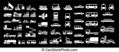 vector, -, transporte, iconos