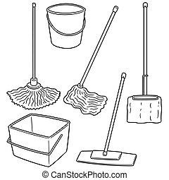 Conjunto Etiquetas Ilustración Mop Vector Limpieza