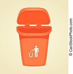 Vector trash bin isolated icon. Vector flat cartoon illustration
