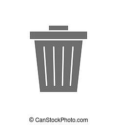 Vector trash can, garbage, waste grey icon.